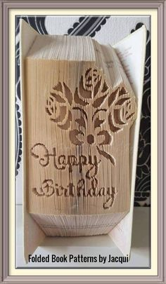 Happy Birthday with Roses Book Folding Pattern by JHBookFoldPatterns on Etsy