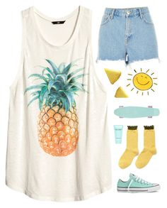 """""""Summer outfit! ☀️"""" by genesis129 ❤ liked on Polyvore featuring H&M, River Island, Converse, Hansel from Basel and Marc Jacobs"""