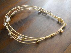 Guitar String Bracelet with Swarovski by ACordofThreeStrands, $25.00