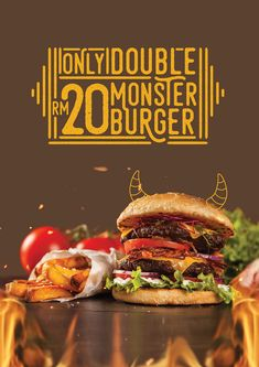 Logo, visual identity and packaging for Monster Burger Restaurant. Food Design, Food Graphic Design, Food Poster Design, Food Truck Design, Menu Design, Red Burger, Burger Menu, Burger Restaurant, Fast Food Restaurant