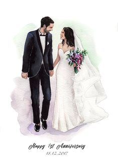 Items similar to Custom portrait from photo. Engagement gift for couple. Watercolor portrait on Etsy Wedding Drawing, Wedding Painting, Wedding Art, Watercolor Wedding, Wedding Bride, Wedding Photos, Wedding Dress Illustrations, Wedding Illustration, Couple Illustration