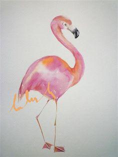 original watercolor flamingo