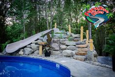 Here is another B-E-A-UTIFUL Paradise Slides, Inc. #PoolSlide Model PS17L-S in CLAY. This one is being thoroughly enjoyed all the way up in Canada. Now that's a great looking #WaterSlide #PoolSlide #ResidentialWaterslide Water Slides, Pool Slides, Can Design, Paradise, Canada, Clay, Backyard, Outdoor Decor, Model