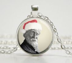 Walt Whitman - Santa Hat - Literary Jewelry - Gifts for Librarian - Readers - Book Lover - Gifts for Writer  (Z5660)