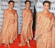 Dia Mirza in Floral Anarkali Salwar #sarees #celebrity #bollywood #fashion #anarkali
