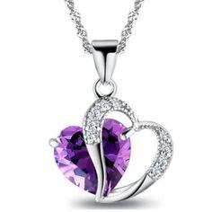 Sydänkaulakoru kahdella sydämellä - Violetti