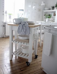 This is a great kitchen island, just move it aside when you don't need it
