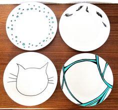 Porzellan, Teller, Selbst Bemalen, DIY, Upcycling, Recycling, Selbermachen, Crafting, Basteln, Geschirr