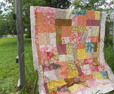 Pink Blue and Yellow Full size Bed Quilt by SewGiddy on Etsy, $500.00