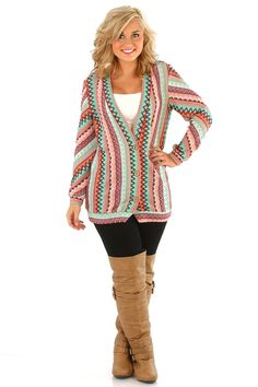 Don't Ask Why Cardigan: Coral/Multi