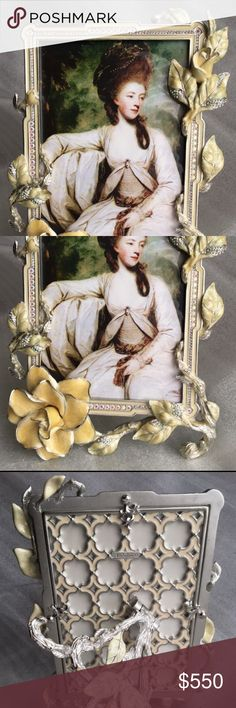 Jay Strongwater picture frame Gorgeous handcrafted in the USA picture frame by Jay Strongwater. Hand carved pewter with 14kgold and antique finishes hand enameled and hand set Swarovski crystals. Heirloom quality that will be treasured for generations Jay Strongwater Other