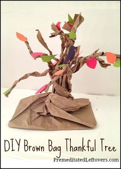 How to make a Thankful Tree from a brown paper bag. An easy Thanksgiving Craft to do with your kids