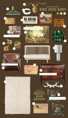 "rustic and cozy boy nursery- ""bird-dog-baby nursery style board inspiration"""