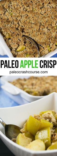 A delicious oven baked paleo friendly apple crisp! It's incredibly easy to cook up and tastes amazing. Perfect as either a dessert or even as a breakfast dish.