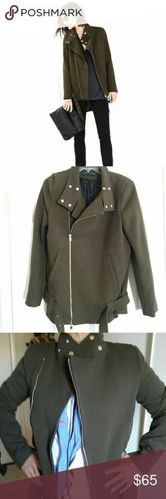 Zara military olive green jacket Beautiful Zara jacket great condicion wore cuple of times, lining in perfect condition, sz xs but fits M and L. Smaller at the arms. Zara Jackets & Coats