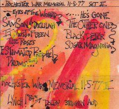 Grateful Dead, Rochester, New York 11-05-1977 set II original tape case artwork-J.Blueberries