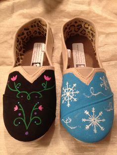 Frozen Inspired Hand Painted Shoes Disney's Elsa and Anna/Let it Go www.facebook.com/MonkeymouDesigns. To order hand painted items, find me on Etsy and Instagram also. Thanks