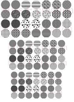 graphique noir & blanc Planche d'images digitales pour cabochon rond 25mm et 20mm et 18mm : Cabochon par miss-e  #cabochon #imagedigitale #imagecabochon