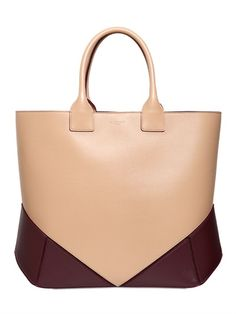 EASY TWO TONE NAPPA LEATHER TOTE BAG