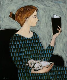 """She Reads"" by Brian Kershisnik"