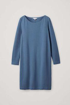 Cos Midi Elastic-waist Dress In Blue Cardigans For Women, Coats For Women, Clothes For Women, Cos Fashion, Light Blue Dresses, Knit Skirt, Trousers Women, Jumpsuits For Women, Elastic Waist
