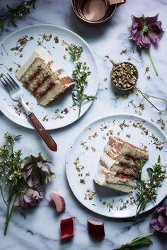 Oh Honey Bakes . Meadow Tea Cake with Spiced Rhubarb Cherry Jam . Cupcakes, Cupcake Cakes, Cupcake Recipes, Dessert Recipes, Icing Recipes, Fruit Dessert, Baking With Honey, Cake Photography, Cake Fillings