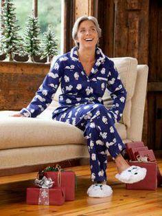 Lanz of Salzburg Puppy Love Flannel Pajamas for Women