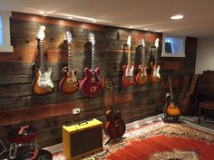 Trendy Home Studio Room Man Cave 29 Ideas Guitar Wall, Guitar Room, Music Guitar, Music Man Cave, Man Cave Music Room Ideas, Home Studio Musik, Music Studio Decor, Home Music Rooms, Deco Cool