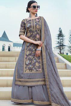 Buy Grey Silk Zari Woven Straight Cut Salwar Online Indian Suits Punjabi, Pakistani Suits, Indian Wear, Fashion Pants, Women's Fashion, Designer Jackets, Cotton Anarkali, Edwardian Dress, Designer Kurtis