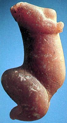 The Venus de Sireuil was collected in 1900 in the Dordogne. It is made of calcite.   Photo: Unknown