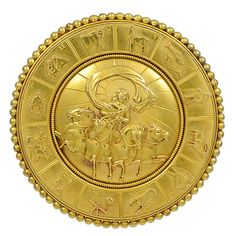 Victorian Wheel of the Twelve Zodiac Signs Gold Brooch   From a unique collection of vintage brooches at https://www.1stdibs.com/jewelry/brooches/brooches/