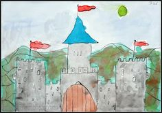 Made by students of grade 4 You need: white drawing sheet size indian ink dip pen watercolour paint brushes jar with water See some pic. Fairy Tale Theme, Fairy Tales, Artists For Kids, Art For Kids, Lichtenstein Castle, Drawing Sheet, Knight Art, Germany Castles, Famous Castles