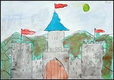 Tekenen en zo: sprookjes kasteel tekenen met kroontjespen (onderbouw kan met fineliner)