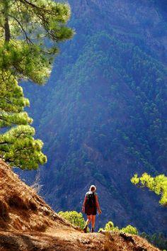 Senderismo por la caldera de Taburiente en la isla de La Palma, Islas Canarias (España)