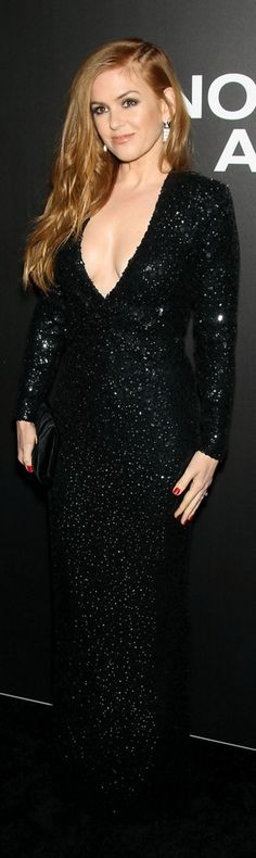 Who made Isla Fisher's black sequin long sleeve gown?