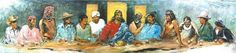 The Last Supper with Twelve Tribes, acrylic and oil on canvas, 20ft. x 4 ft.6in.