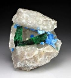 Malachite with Shattuckite, Quartz Kandesei, Kaokoveld Plateau, Kunene Region, Namibia Natural Crystals, Stones And Crystals, Gem Stones, Minerals And Gemstones, Rocks And Minerals, Crystal Magic, Beautiful Rocks, Mineral Stone, Rocks And Gems