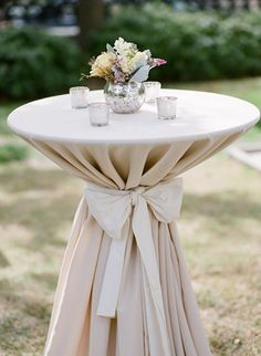 cocktail table bow #wedding