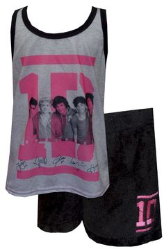 One Direction 1D Boy Band Shortie Pajamas Simply stated, these are sure to be a hit with any 1D fan! These shortie pajamas for girls are flame resistant fabric. They feature the 1D band members and their signatures on a pajama with a tank top and short pants. The shorts are a soft plush fabric. These fun jammies are machine washable and easy to care for.