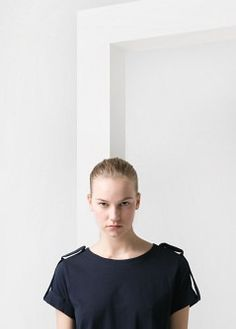 Tab cotton t-shirt - T-shirts and tops - Women - MANGO