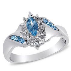 Viola Collection, Sterling Silver Rhodium White Topaz & Sky Blue Topaz Ring