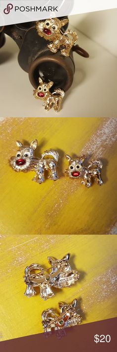 Vintage Gold Tone Scatter Scotty Dog Pins Vintage Gold Tone Scatter Scotty Dog Pins Gerry's Jewelry Brooches