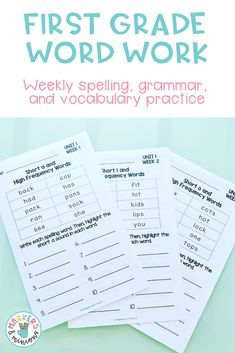 These are 30 weeks of spelling, vocabulary, and grammar booklets for first grade. They align to the Benchmark Advance weekly skills, but can work in any first grade classroom!