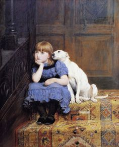 Briton Riviere, Sympathy, c. 1878.  That pup is a scene-stealer.