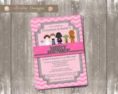 Pink Chevron Star Wars Baby Shower Invitation (Welcome Jedi Princess)  DIGITAL FILE
