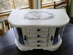 Large Old White Vintage Jewelry box Shabby by JansVintageThisNThat