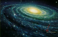 the milky way, the red arrow is marking our solar system