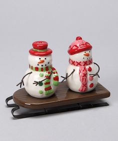 salt & pepper shakers snowman let it snow winter Christmas festive holiday