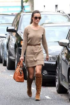 Pippa Middleton -  French Connection camel sweater dress