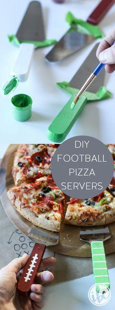 DIY Football Pizza Servers - football super bowl part decor ideas